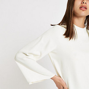 White satin long sleeve top