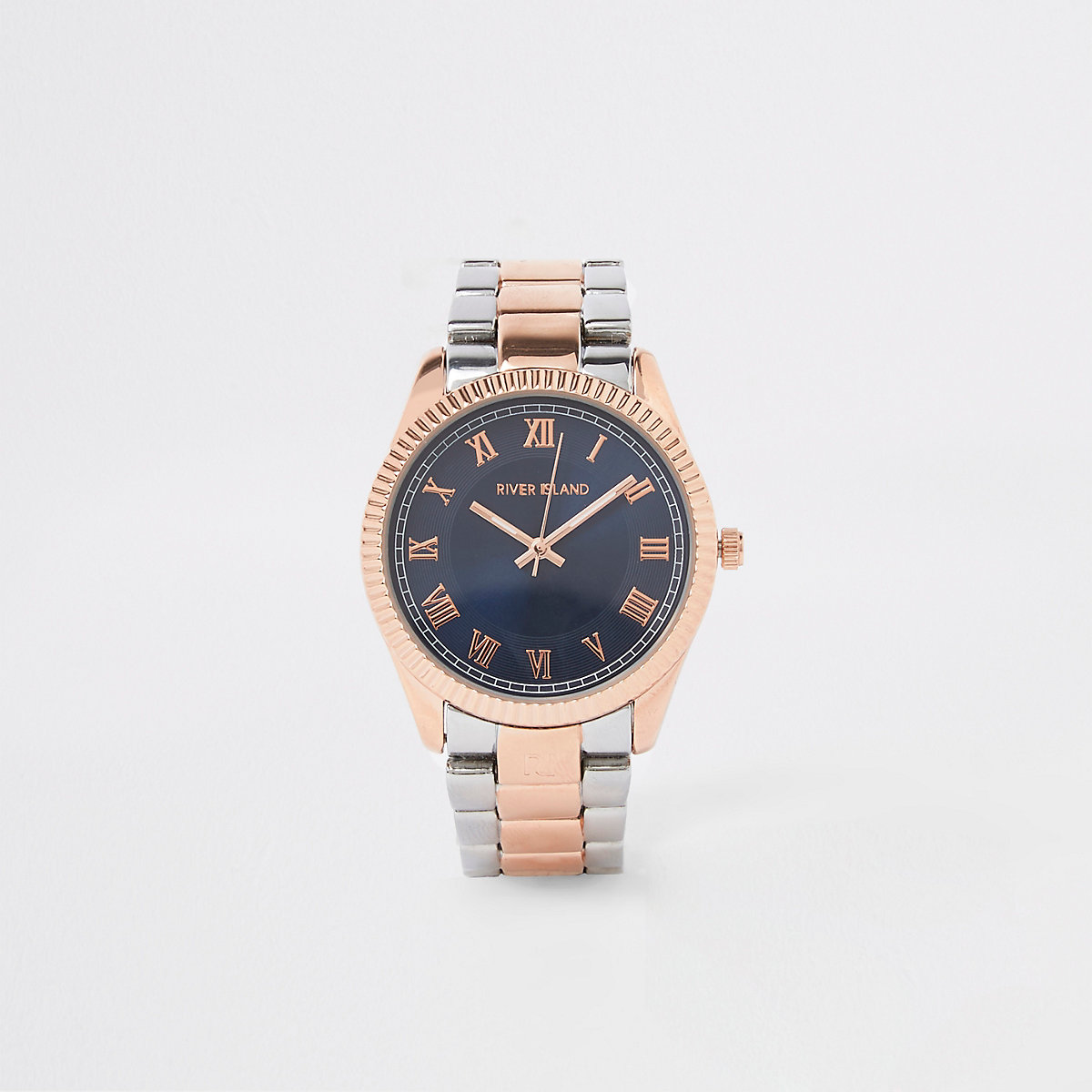 Rose gold and silver color bracelet watch