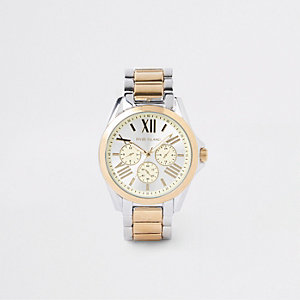 Silber- und goldfarbene Armbanduhr