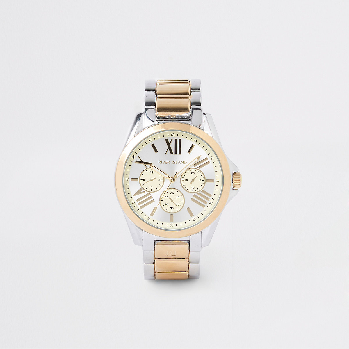 Silver and gold colour bracelet watch
