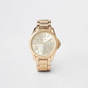 Gold color 3 dials bracelet watch