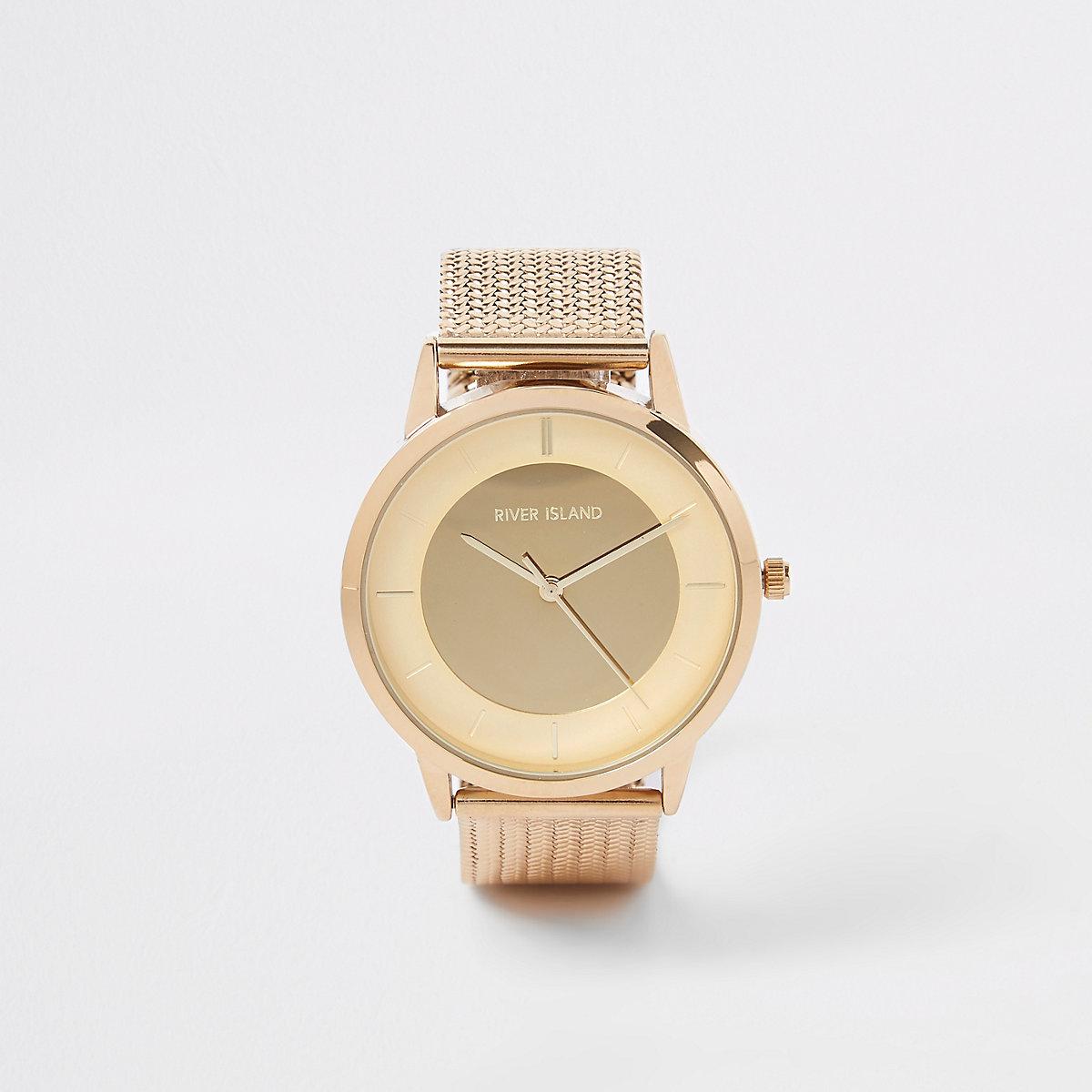 Gold colour mesh strap watch