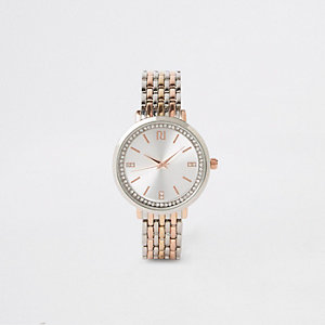 Triple metal diamante watch