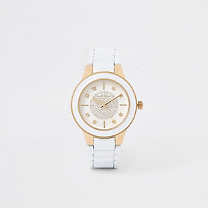 White rhinestone round face watch