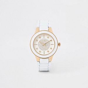Wit horloge met diamantjes en ronde wijzerplaat