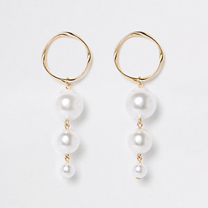 Gold color triple pearl drop earrings
