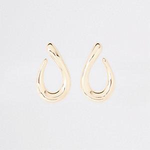 Gold colour chunky tear drop earrings