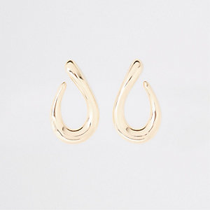 Boucles d'oreilles pendantes dorées épaisses façon gouttes