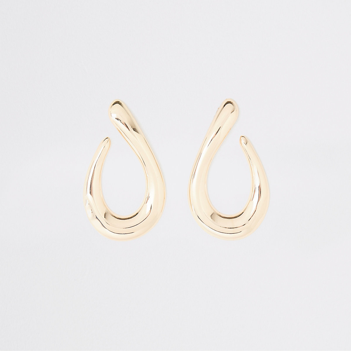 Gold colour chunky tear drop earrings