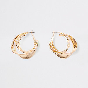 Gold tone layered twist hoop earrings