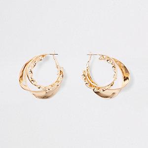 Gold color layered twist hoop earrings