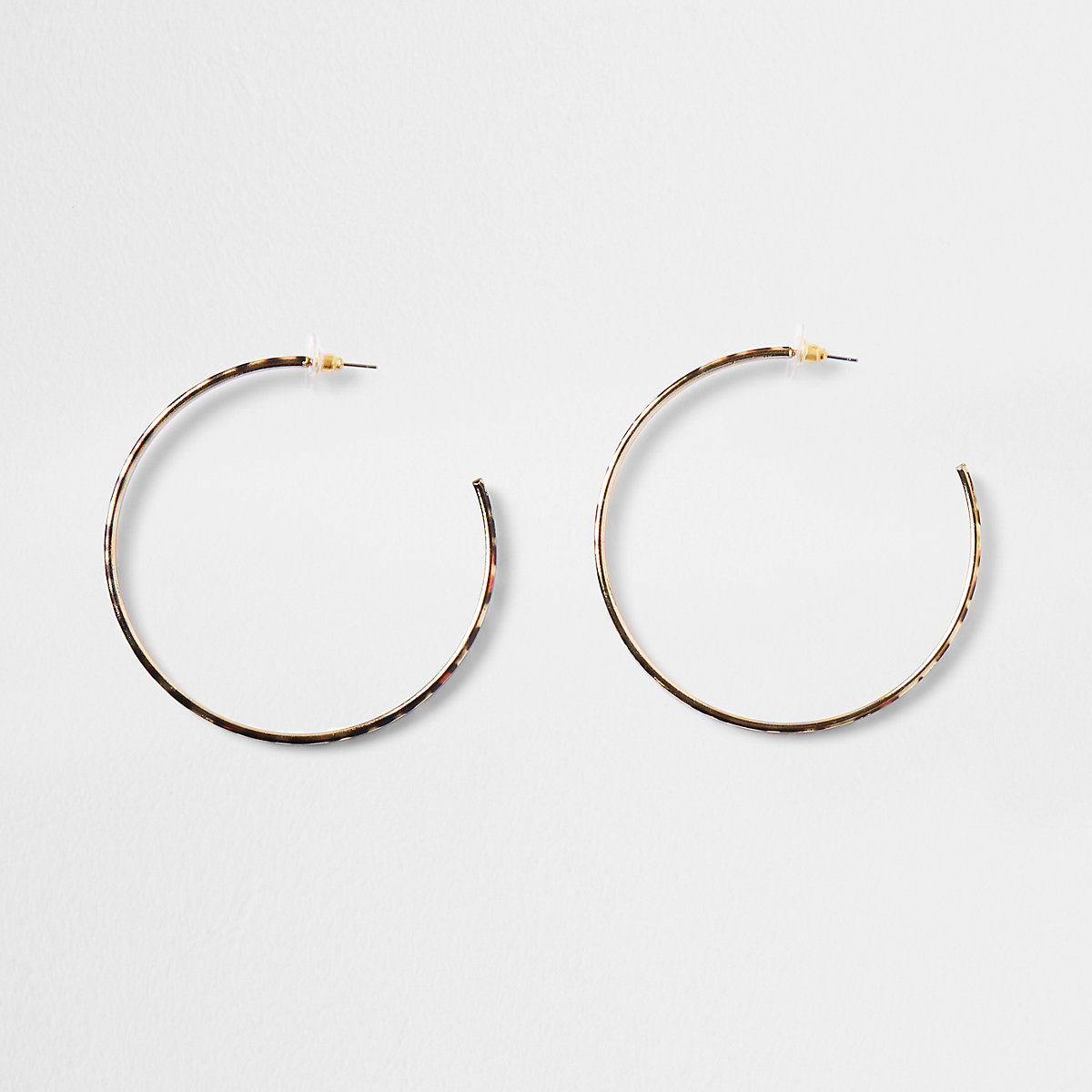 Gold color leopard print hoop earrings