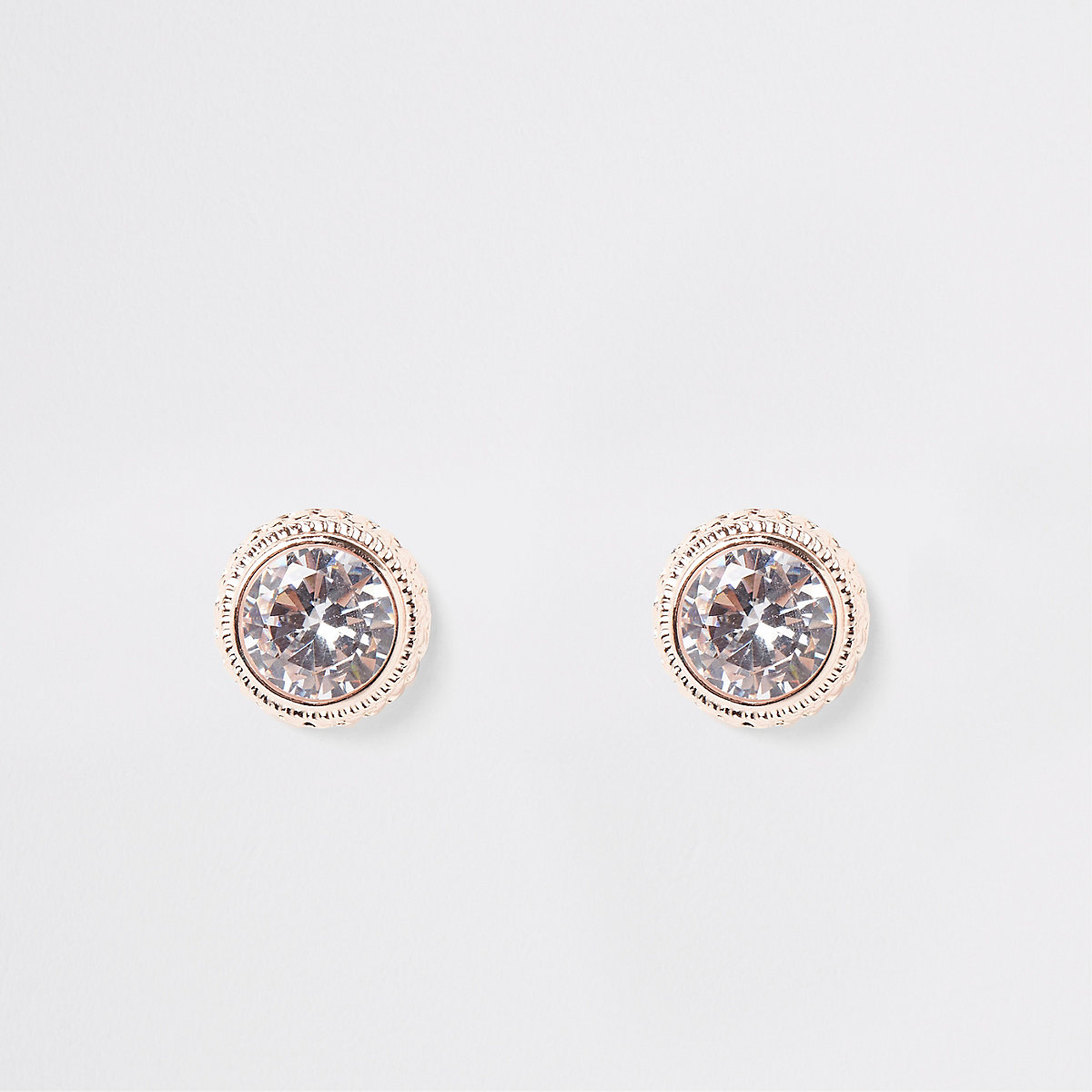 Rose gold curb trim round stud earrings