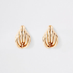 Gold tone folded shell stud earrings