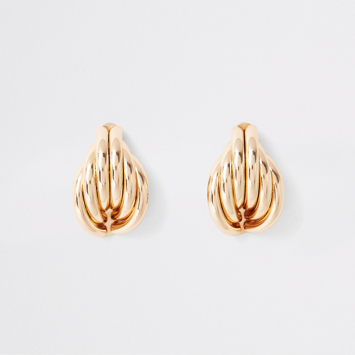 Gold colour  folded shell stud earrings