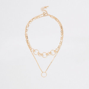Gold colour circle link necklace multipack