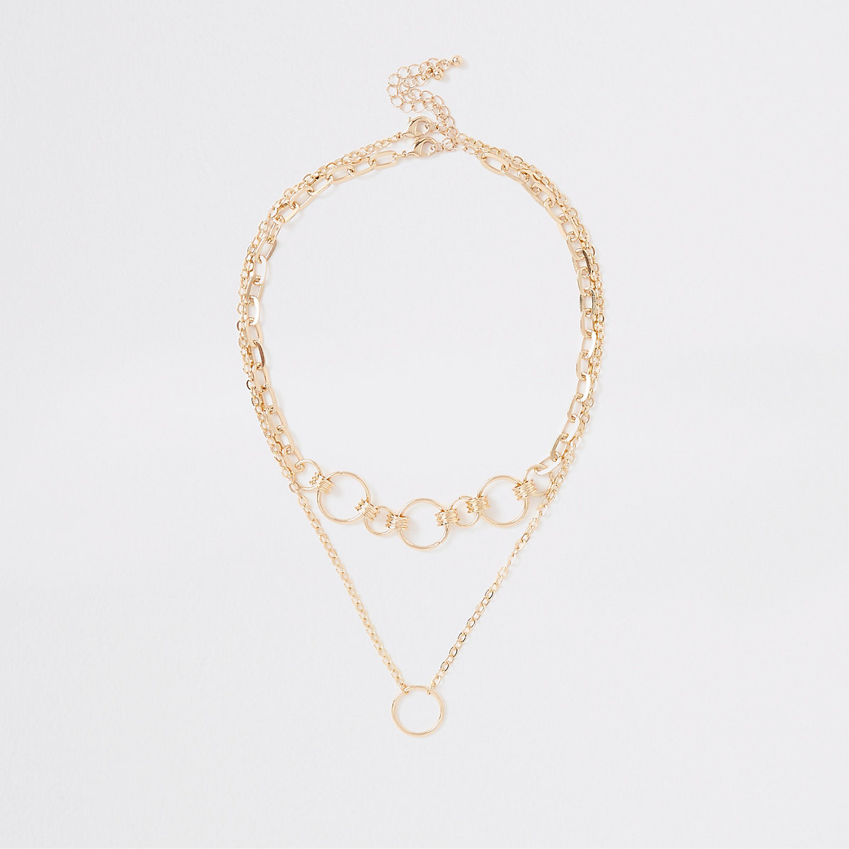 Gold tone circle link necklace multipack