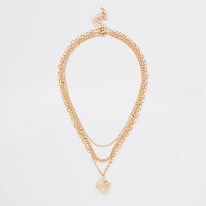 Goldene Halskette mit Herzanhänger, Set