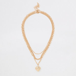Gold tone heart pendant necklace multipack