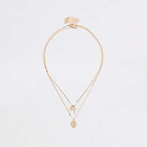 Gold colour layered charm necklace