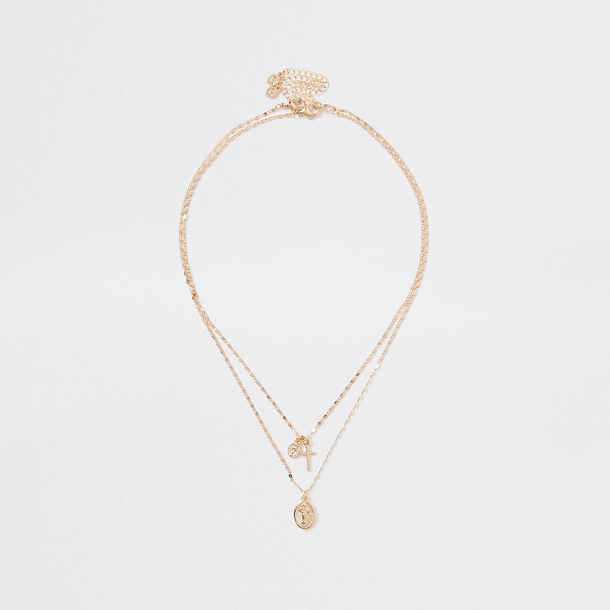 Gold color layered charm necklace