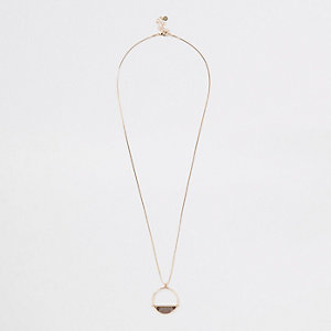 Gold color snake chain long pendant necklace