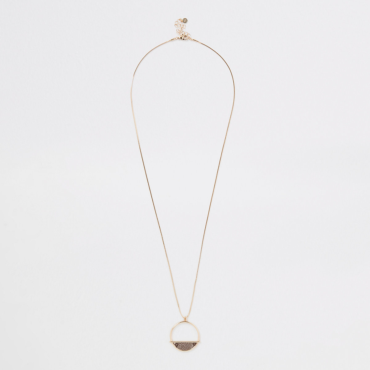 Gold tone snake chain long pendant necklace