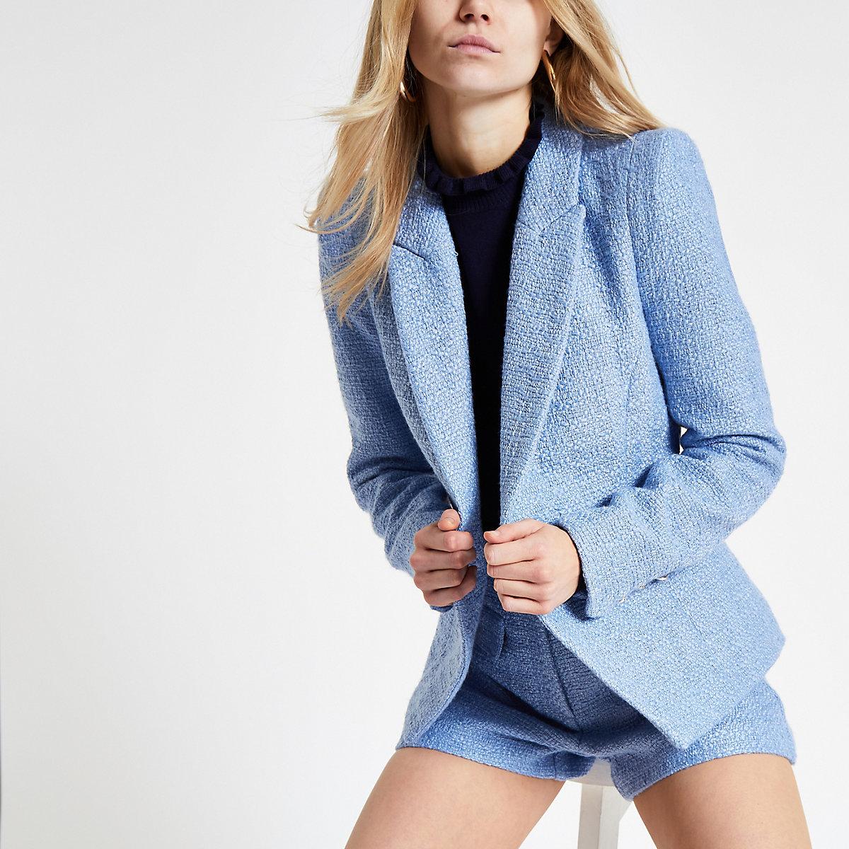 Light blue boucle cropped blazer