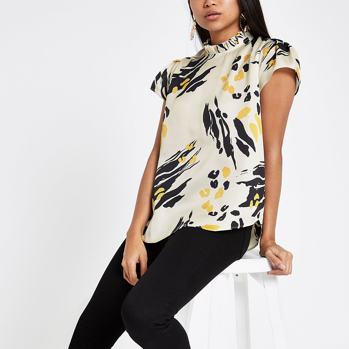 Petite cream printed frill neck shell top
