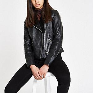 Black leather croc biker jacket