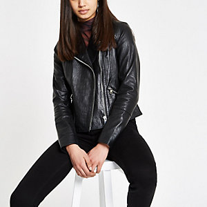 Black leather croc biker jacket