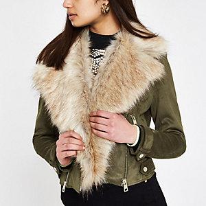 Khaki faux suede fur trim biker jacket
