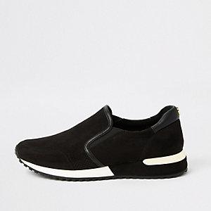 Black faux suede runner sneakers