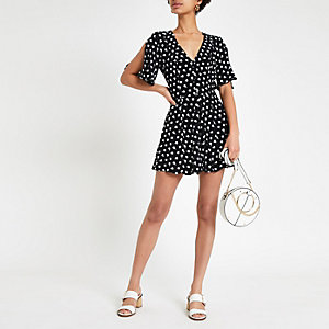 Combi-short jupe-culotte imprimé feuille noir