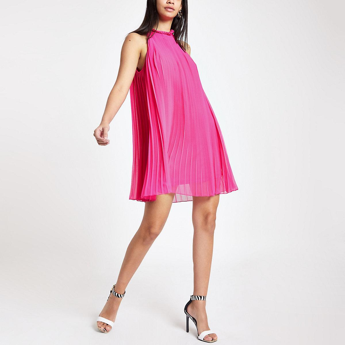 Bright pink pleated halter neck swing dress