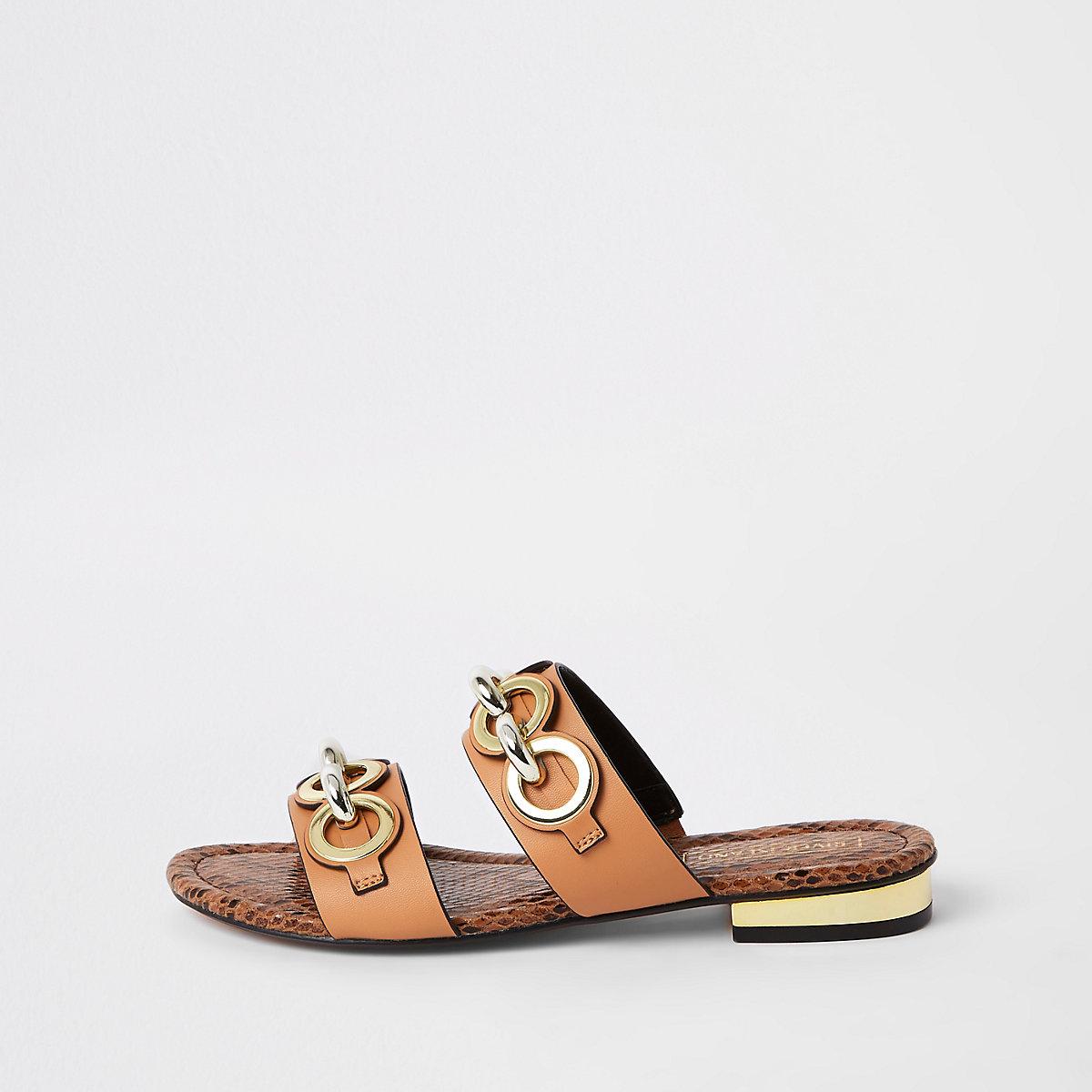 Light brown circle chain mule sandals