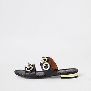 Black circle chain mule sandals