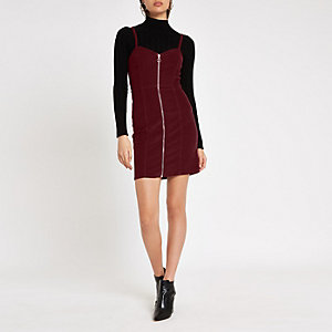 Burgundy cord zip up pinafore dress
