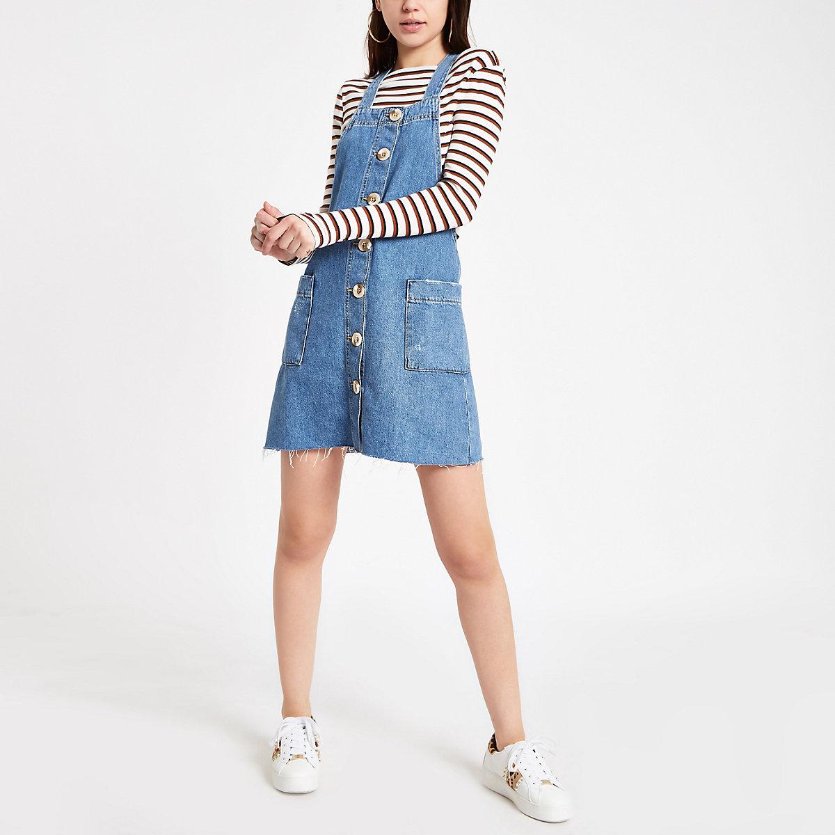 Mid blue denim pinafore overall dress