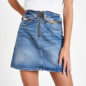 Mid blue snaffle trim denim skirt