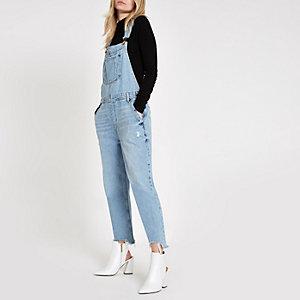 Hellblaue Jeans-Latzhose