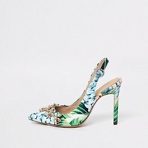 Green floral slingback court shoes