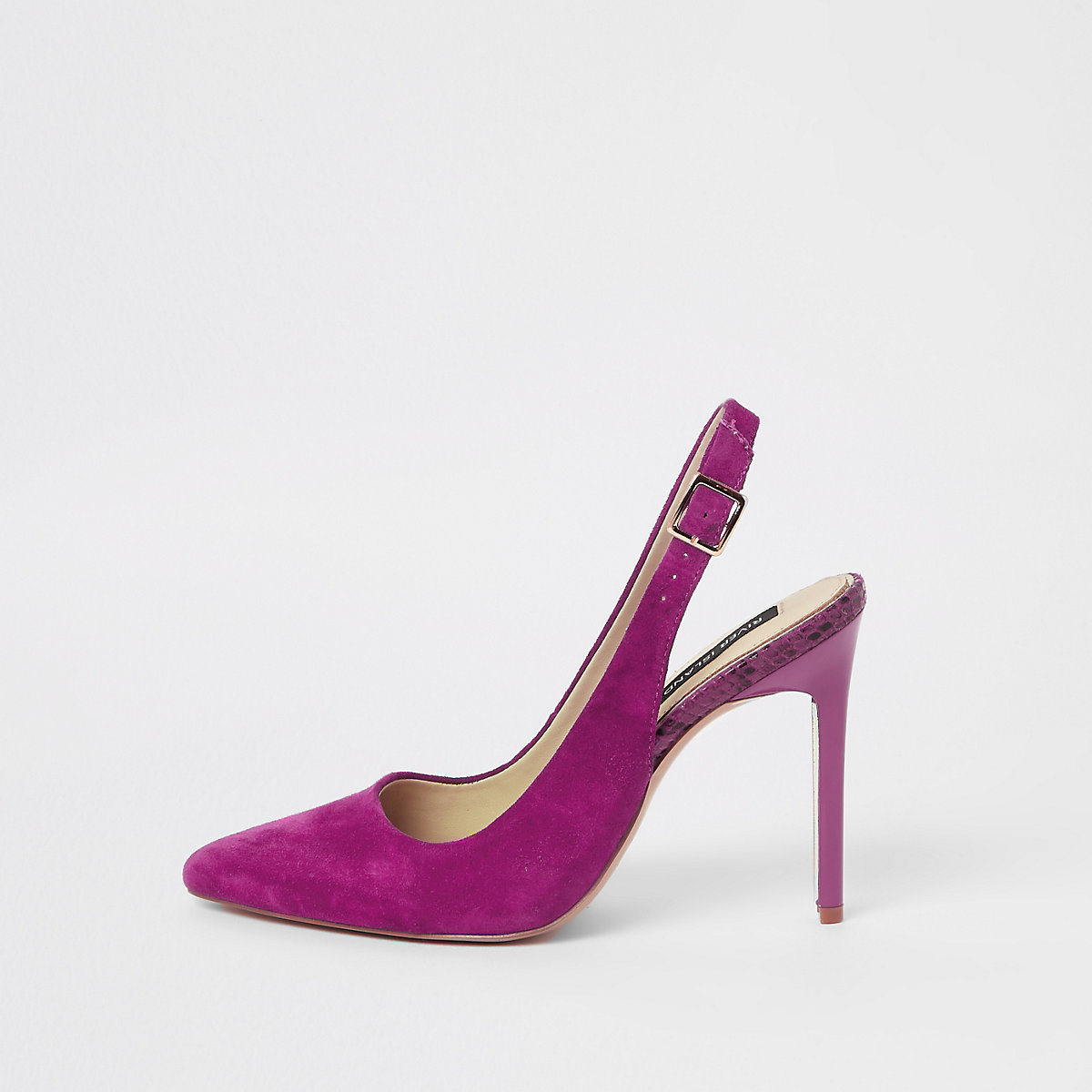 Pink pointed toe slingback pumps