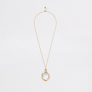 Gold color long circle pendant necklace