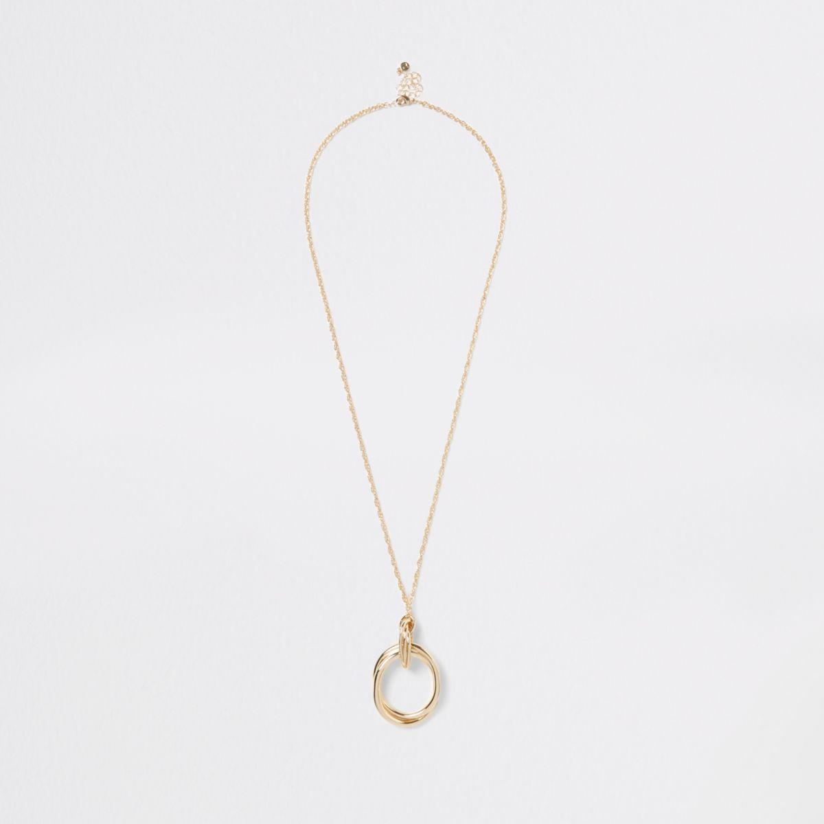Gold color long circle pendant necklace