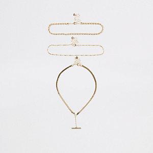 Lot de colliers à barre en T et chaîne dorée