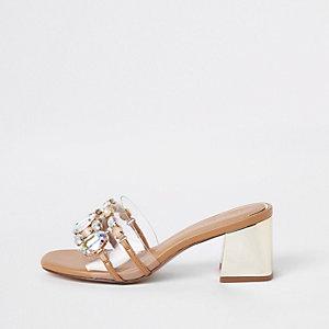 Gold perspex block heel sandals