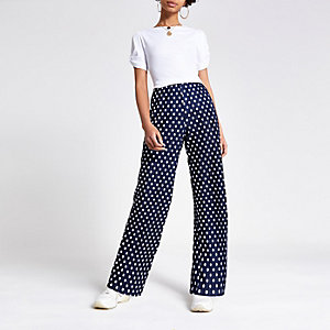 Navy plisse spot print wide leg trousers