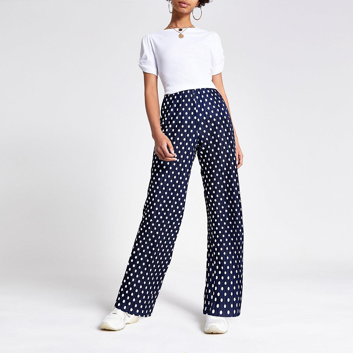 Navy plisse spot print wide leg trousers