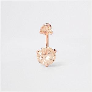 Piercing nombril façon or rose avec zircon cubique